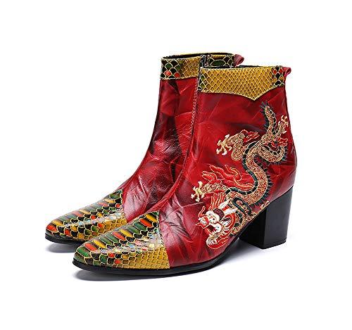 Shose Casual Toe Pointu En Singer Knight Cuir Chaussures Chaudes Cowboy Dragon Pour L'hiver Courtes Motif Et Eu42 Rock L'automne Hommes Design Bottes Classiques z7x8gqw8