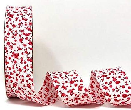 Fany Cinta al bies blanca con motivos florales rojos, 30 mm, 2 m ...