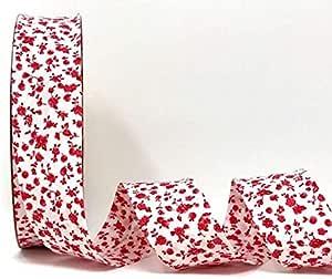 Fany Cinta al bies blanca con motivos florales rojos, 30 mm, 2 m de longitud (nota: se ha cortado de un rollo): Amazon.es: Hogar