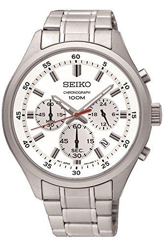 Seiko Men's 43mm Steel Bracelet & Case Hardlex Crystal Quartz White Dial Analog Watch SKS583P1 (Chronograph White Bracelet)