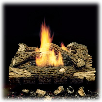 (Monessen Charred Hickory Ventless Gas Logs - Manual Control - 24 inch - Natural Gas)