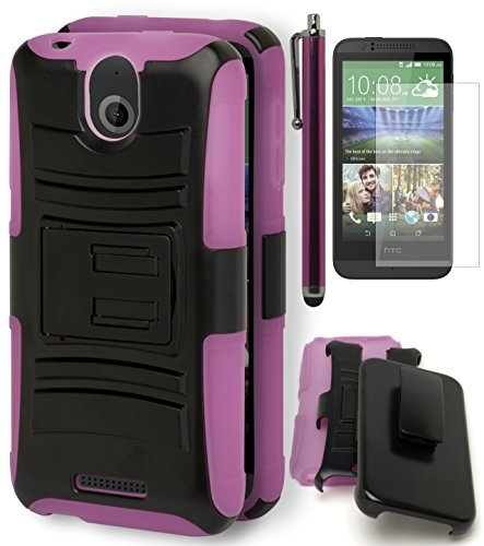 Bastex Heavy Duty Hybrid Protective Case - Soft Pink Silicone Hard Black Holster Kickstand Case for HTC Desire 510INCLUDES SCREEN PROTECTOR AND STYLUS ()