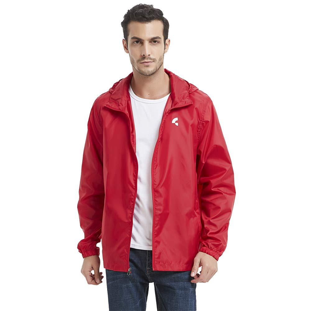 Somewell Men's Water-Resistant Quick Dry Raincoat, Hooded Windbreaker Cycling Running Athletic Rain Jacket, Team Red S by Somewell