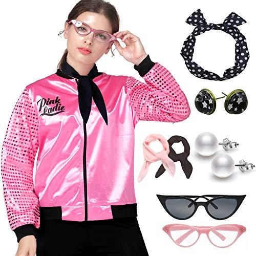 1950s Sequins Pink Ladies Jacket Adult T Bird Costume Accessories Set (M, Hot Pink Set)]()