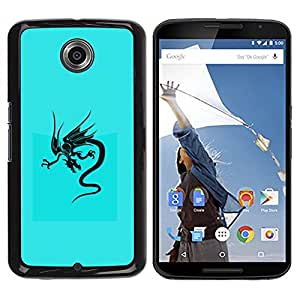 LECELL -- Funda protectora / Cubierta / Piel For Motorola NEXUS 6 / X / Moto X Pro -- Blue Tribal Dragon --