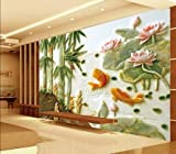 ZLJTYN 240cmX160cm 3d wallpaper custom Silk cloth Jade fish embossed lotus TV setting wall paper