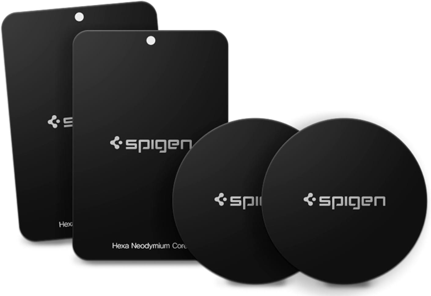 4 Pack - 2 Round, 2 Rectangle Black Spigen Kuel MP4-P Metal Plates for Magnetic Car Mount Phone Holder QNMP Compatible