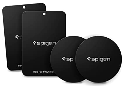 new product 9113a 085d0 Spigen Kuel A210 Metal Plates for Magnetic Car Mount Phone Holder QNMP  Compatible (4 Pack - 2 Round, 2 Rectangle) - Black