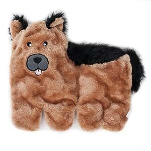 ZippyPaws Squeakie Pup 11-Squeaker No Stuffing Plush Dog Toy, German Shepherd