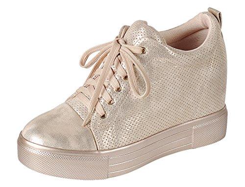Cambridge Selezionare Donna Low Top Chiuso Punta Rotonda Allacciata Traforata Moda Sneaker Cuneo Oro Rosa