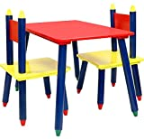 Greenco Click N' Play Wooden Kids Table and Chair Set,Crayon Themed, Play Room Furniture