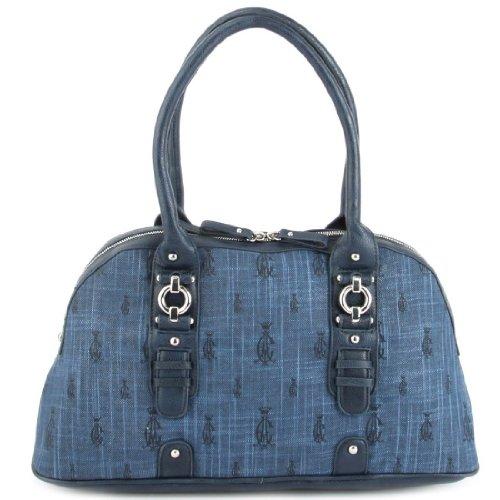 Audigier Bag (Christian Audigier Joann Tweed Satchel Womens Handbag Blue)