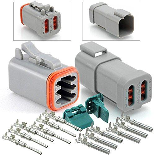 Amphenol 6-Pin Connector (END Cap), Pins & Seals Crimp Terminals,14-16 AWG ()