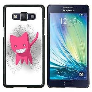 KLONGSHOP // Cubierta de piel con cierre a presión Shell trasero duro de goma Protección Caso - Divertido Gato rosado lindo - Samsung Galaxy A5 A5000 //
