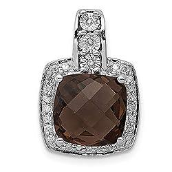 Silver Diamond Chocolate Brown Smoky Quartz Pendant