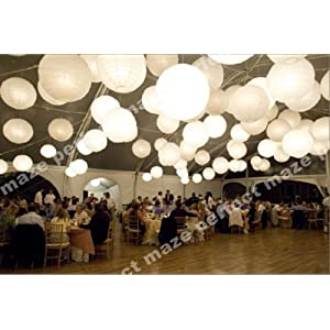 Perfectmaze 12 piece set 12 inch White Round Chinese Paper Lantern with Led for Wedding Party Engagement Decoration