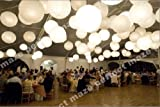 Perfectmaze 12 Piece Set 20 Inch White Round Chinese Paper Lantern with Led for Wedding Party Engagement Decoration
