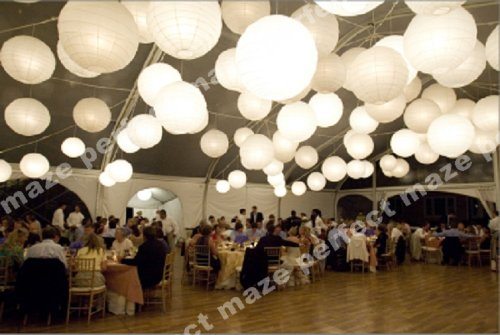 Perfectmaze 12 piece set 12 inch White Round Chinese Paper Lantern with Led for Wedding Party Engagement Decoration by Perfect Maze