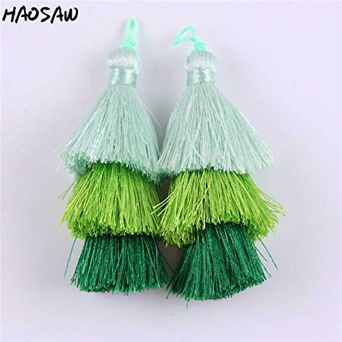 Laliva 7.5CM 2Pcs/Lot Colorful Long Tassel for DIY Necklace Jewelry Findings/Accessories Parts/Silk Tassel/Embellishments Making - (Color: 09)