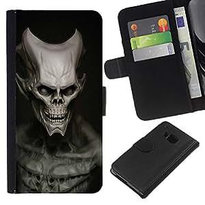 YiPhone /// Tirón de la caja Cartera de cuero con ranuras para tarjetas - Cráneo malvado - HTC One M9