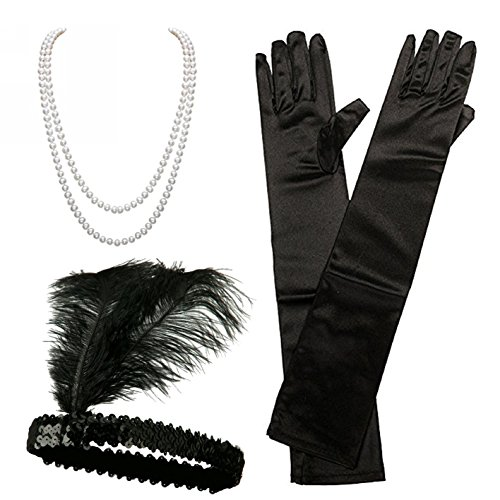 iLoveCos 1920s Accessories Set Flapper Headband Necklace Gloves Great Gastby Accessories