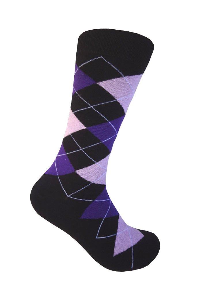 Triple M Plus Black With Purple And Lavender Argyle Dress Sock