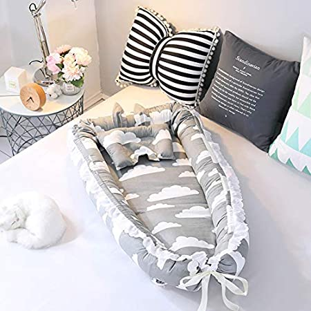 Premium Soft Co-Sleeping Baby Bed Baby Lounger Ruffled Baby Bassinet for Bed