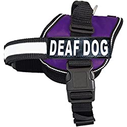 Deaf Dog Nylon Dog Vest Harness. Purchase Comes with 2 Reflective Removable Deaf Dog Patches. Please Measure Your Dog Before Ordering
