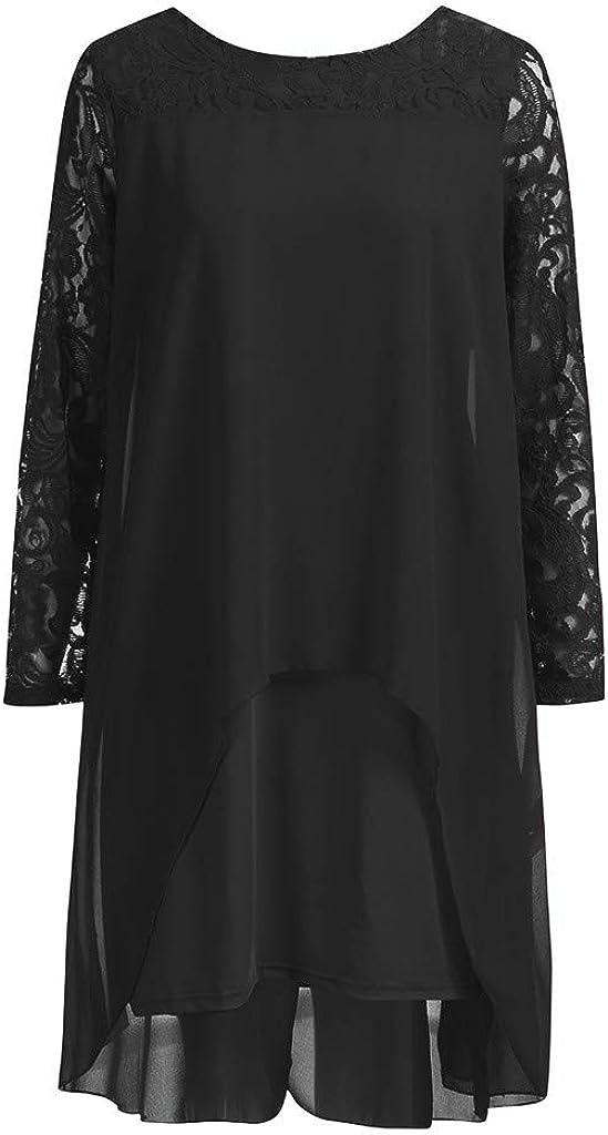 Chiffon Women Layered Hollow Long Sleeve Oversize Lace Flowy Dress