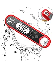 Digital Food Thermometer with Bottle Opener, Instant Read Thermometer Foldable Electronic Meat Thermometer with Probe, BBQ Thermometer with Calibration Back-lit LCD Display for Kitchen Cooking etc