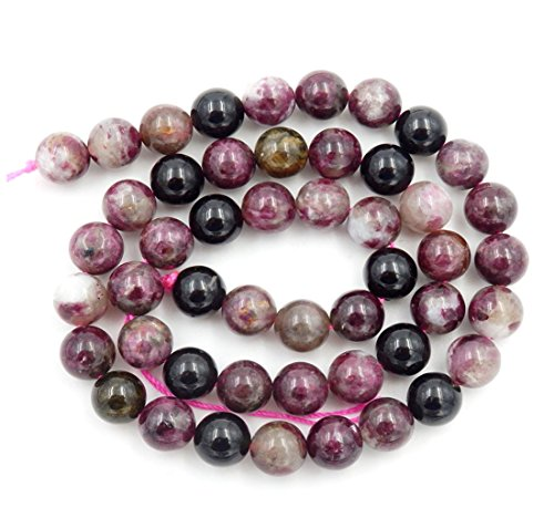 (2 Strands Top Quality Natural Multi Colors Tourmaline Gemstone 8mm Round Loose Stone Beads for Jewelry Craft Making GY7-8)
