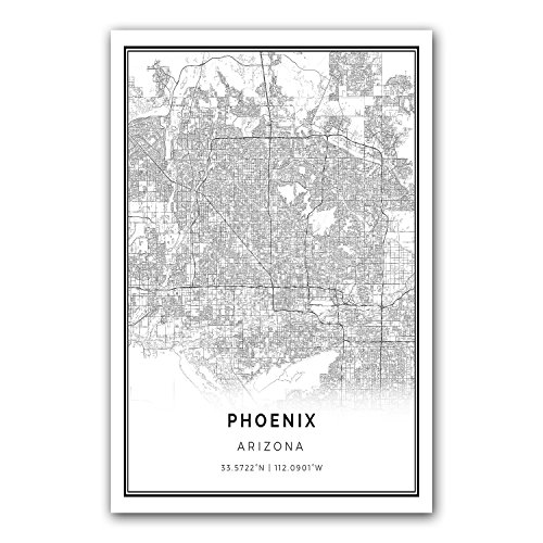 Phoenix map poster print | Modern black and white wall art | Scandinavian home decor | Arizona City prints artwork | Fine art posters 24x36