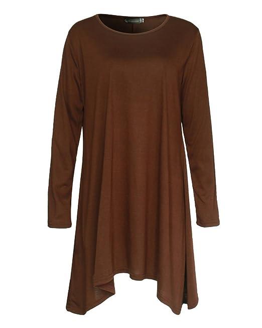 3327b7f6d7079f Women s Casual Plain Simple T-Shirt Loose Dress Long Sleeve Round Neck Style  Irregular Long