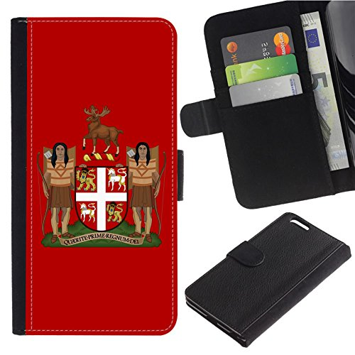 [Coat of Arms of Newfoundland and Labrador] for LG Aristo Case/LG Phoenix 3 / K8 2017 / Fortune/Risio 2 / K4 2017 / V3, Flip Leather Wallet Holsters Pouch Skin Case - Newfoundland And Labrador Coat Of Arms