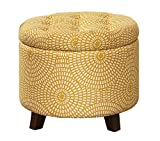 Homelegance Cleo 20' Round Geometric Print Fabric Storage Accent Ottoman, Yellow