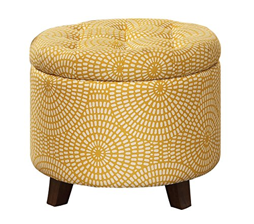 Homelegance Cleo Round Storage Accent Ottoman with Button-Tufted Geometric Design, Yellow (Ottoman Tufted Storage)