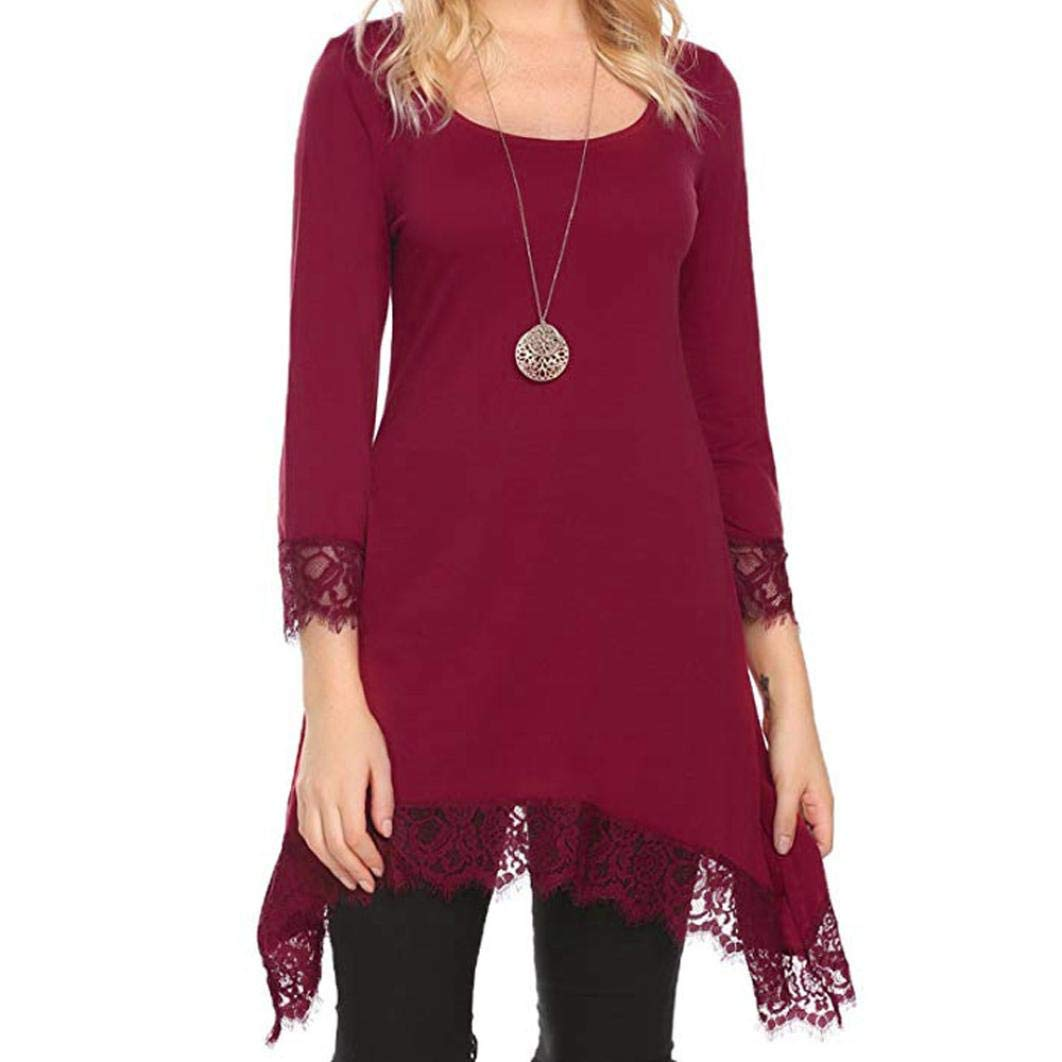 Happy-Day Women Autumn Plaid Dress T-Shirts & Tops Casual Lace Patchwork Long Sleeve Long Tunic Tops Blouse