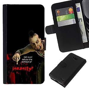 KLONGSHOP // Tirón de la caja Cartera de cuero con ranuras para tarjetas - Psycho B0Rderlands Tf Insanity - LG OPTIMUS L90 //