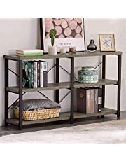 GRELO HOME Rustic Entryway Table, Tv Console Table with Storage Shelf, Metal and Wood Entry Table, Industrial Sofa Table for Living Room
