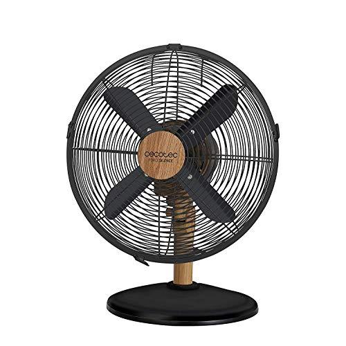 Cecotec Ventilador de Sobremesa ForceSilence 560 WoodDesk. 4 Aspas de 12 (30cm) de Diametro, Oscilante, 3 Velocidades, Motor de Cobre, Acabado Negro y Efecto Madera, 45W