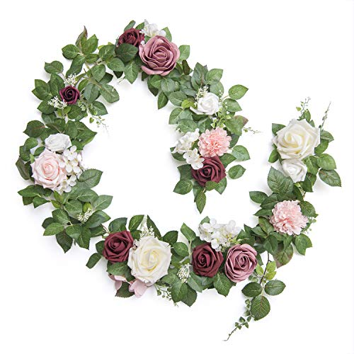Ling's moment Handcrafted Real Touch Flower Rose Garland 5FT, Artificial Foliage Greenery Vine with Mixed Flowers, for…