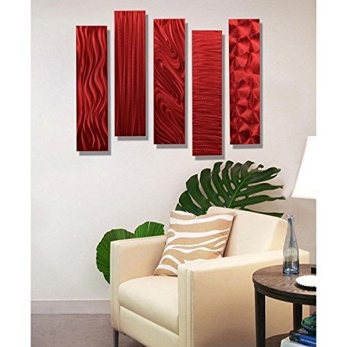 Red Metal Wall Art Accent  nice  red wall decor