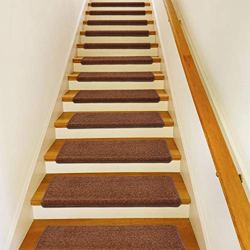 "PURE ERA Carpet Stair Treads Set of 14 Non Slip Self Adhesive Bullnose Stair Protectors Pet Dog Rugs Covers Mats Skid Resistant Tape Free Backing, Washable Soft Solid Chocolate Brown 9.5"" x 30"" x 1.2"""
