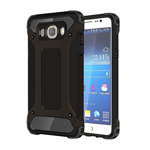 Hülle für Samsung Galaxy J5 2016 (SM-J510F) - Skitic Hybrid Rugged Heavy Duty Defender Outdoor Dual Layer Armor Case TPU Bumper Handyhülle Drop Resistance Tasche Schutzhülle für Samsung Galaxy J5 2016 Smartphone - Schwarz