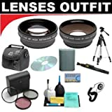 2x Digital Telephoto Professional Series Lens + 0.5x Digital Wide Angle Macro Professional Series Lens + 3 Piece Digital Camera Filter Kit + 2 Recordable DVD Disc's + Deluxe DB ROTH Super Savings Accessory Kit For The Sony HDR-UX1, DCR-DVD101, DVD201, DVD300, DVD301 DVD Camcorders