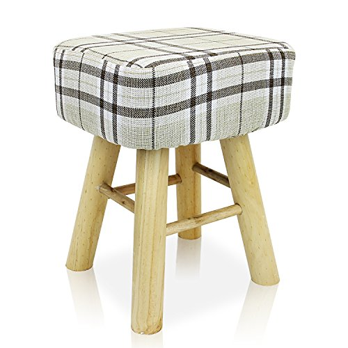 DL furniture – Square Ottoman Foot Stool, 4 Leg Stands, Long leg,Square Shape Linen Fabric, Striped Cover