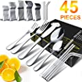 Silverware Set Hobo 45 Piece Japan Stainless Steel Cutlery Flatware Set Knife Fork Spoon Straws Brush Utensils Home Kitchen Hotel Restaurant Tableware Dinnerware Set Service For 8