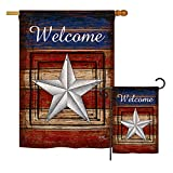 Breeze Decor Welcome Vintage – Patriotic Americana Vertical Impressions Decorative Flags Printed in USA House & Garden Flags Matching Set For Sale