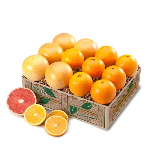Indian River Ruby Red Grapefruit AND Navel Oranges Grove Fresh 2 Trays, 20lbs