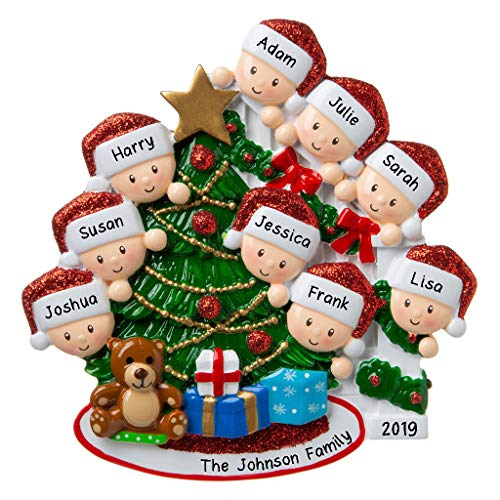 Hobby Home Accessories Personalized Happy Family Bannister Peeking Family Christmas Tree Ornament Present Gift Christmas Morning-Free Personalized (Family of 9) (Personalized Ornament)